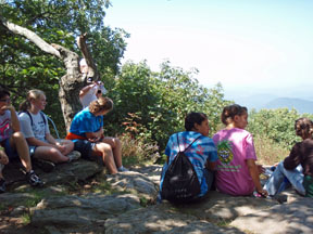 Rest stop atop Springer Mountain on the Appalachian Trail.