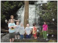 Cub Scouts take a break at Long Creek Falls, a popular year-round destination on the Trout Adventure Trail